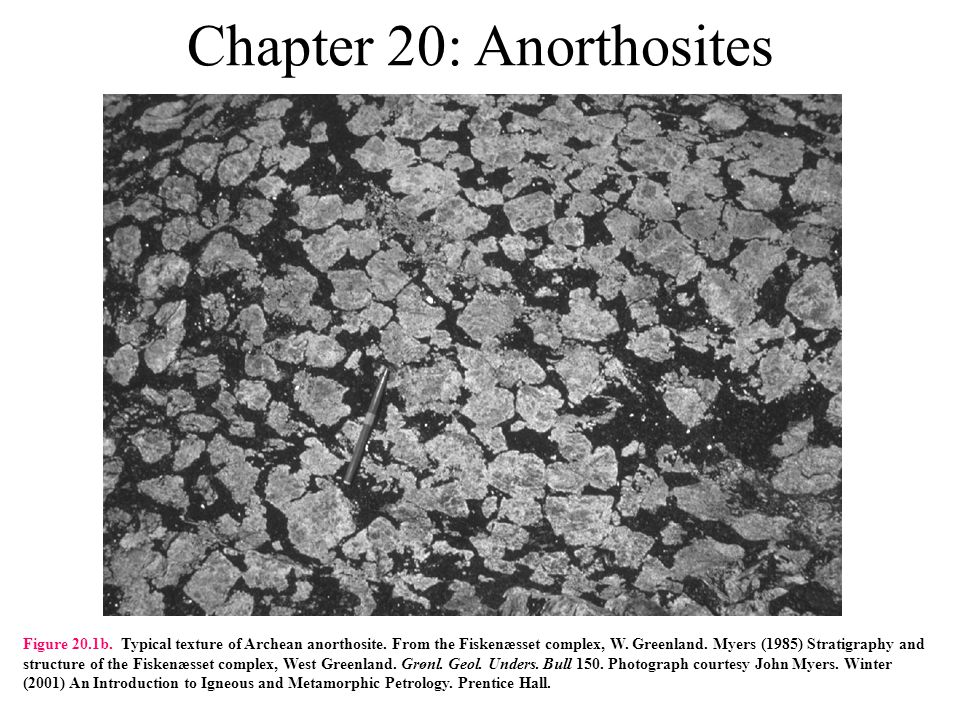 Chapter 20: Anorthosites Figure 20.1b. Typical texture of Archean anorthosite.