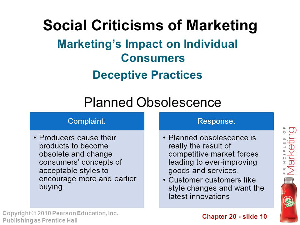 Chapter 20 - slide 10 Copyright © 2010 Pearson Education, Inc. Publishing as Prentice Hall Social Criticisms of Marketing Planned Obsolescence Marketi
