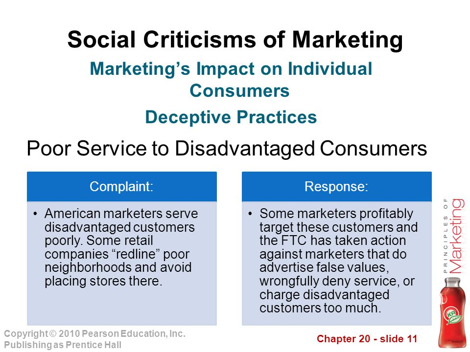 Chapter 20 - slide 11 Copyright © 2010 Pearson Education, Inc. Publishing as Prentice Hall Social Criticisms of Marketing Poor Service to Disadvantage