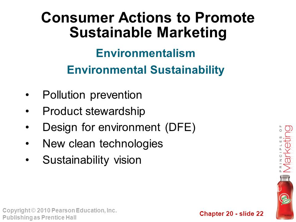 Chapter 20 - slide 22 Copyright © 2010 Pearson Education, Inc. Publishing as Prentice Hall Consumer Actions to Promote Sustainable Marketing Pollution