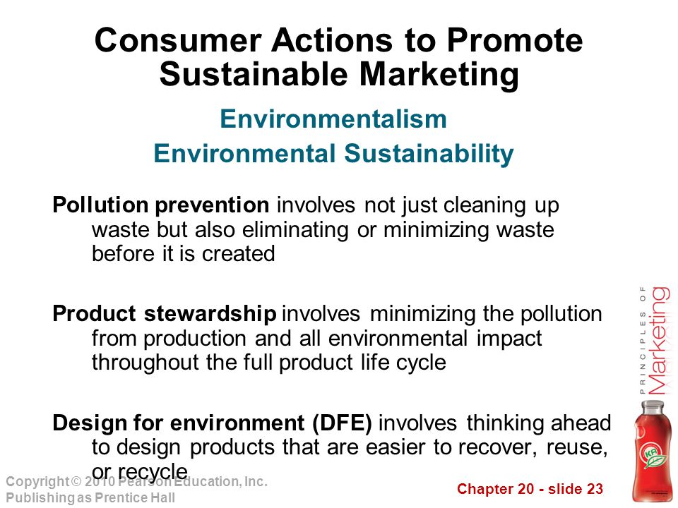 Chapter 20 - slide 23 Copyright © 2010 Pearson Education, Inc. Publishing as Prentice Hall Consumer Actions to Promote Sustainable Marketing Pollution