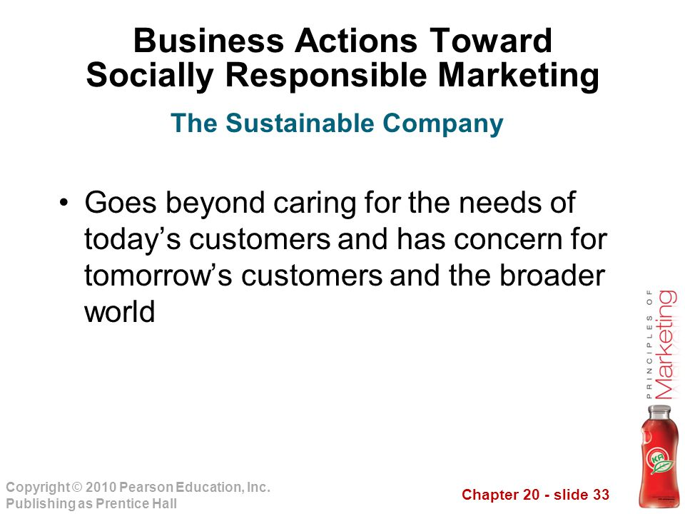 Chapter 20 - slide 33 Copyright © 2010 Pearson Education, Inc. Publishing as Prentice Hall Business Actions Toward Socially Responsible Marketing Goes