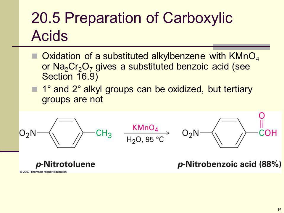 15 20.5 Preparation of Carboxylic Acids Oxidation of a substituted alkylbenzene with KMnO 4 or Na 2 Cr 2 O 7 gives a substituted benzoic acid (see Sec