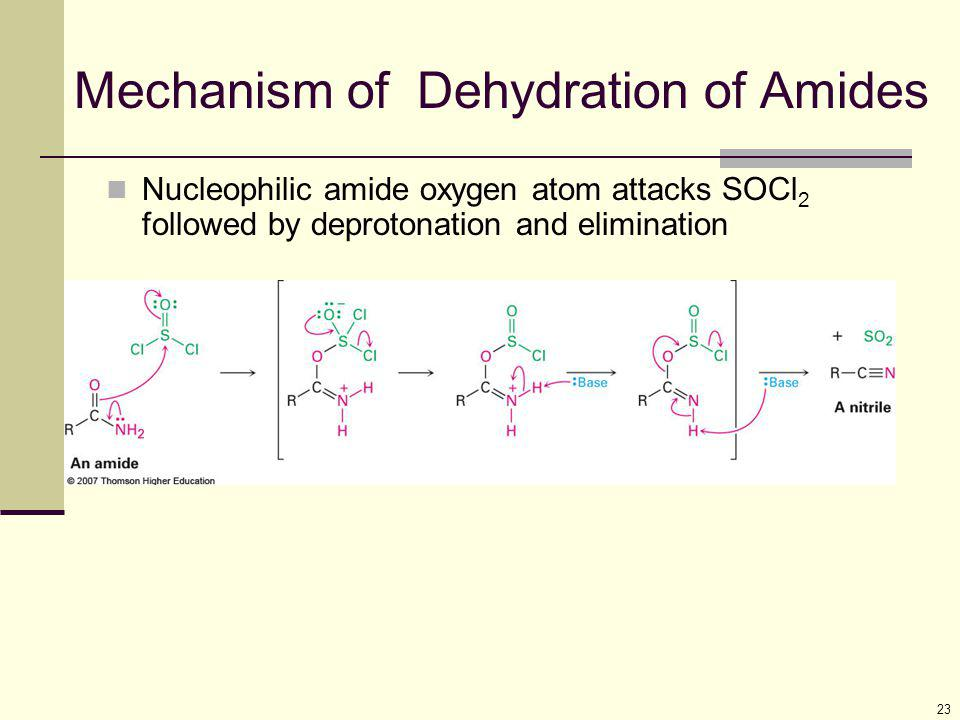 23 Mechanism of Dehydration of Amides Nucleophilic amide oxygen atom attacks SOCl 2 followed by deprotonation and elimination