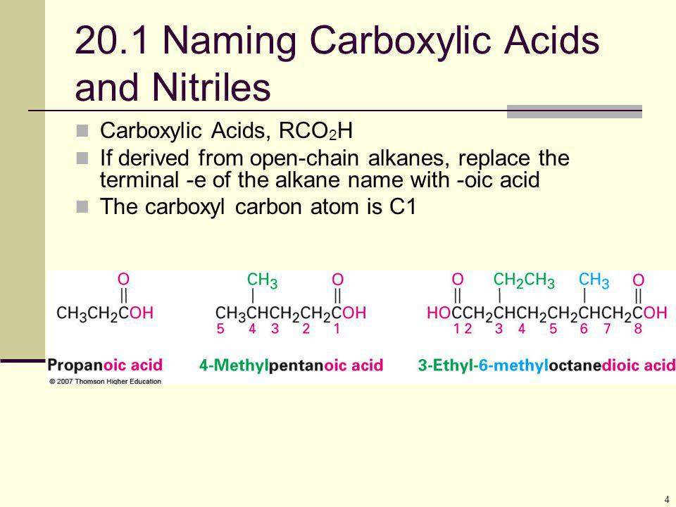 5 Alternative Names Compounds with  CO 2 H bonded to a ring are named using the suffix -carboxylic acid The CO 2 H carbon is not itself numbered in this system Use common names for formic acid (HCOOH) and acetic acid (CH 3 COOH) – see Table 20.1