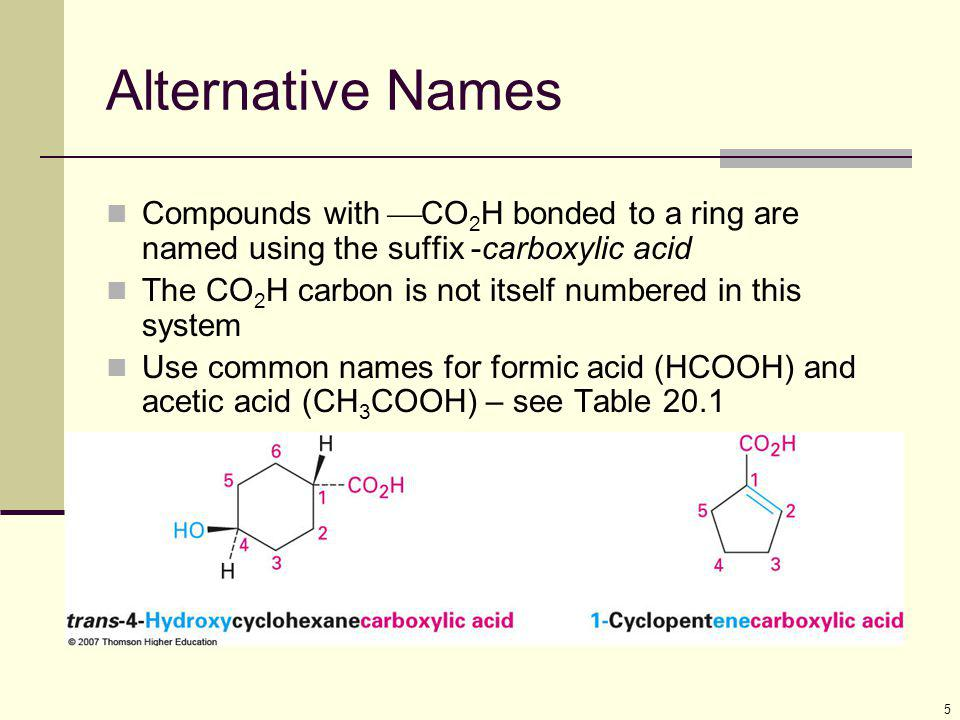 6 Nitriles, RCN Closely related to carboxylic acids named by adding - nitrile as a suffix to the alkane name, with the nitrile carbon numbered C1 Complex nitriles are named as derivatives of carboxylic acids.