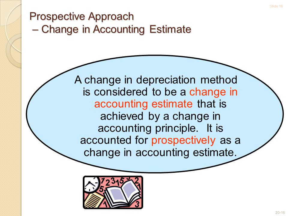 Slide 16 20-16 A change in depreciation method is considered to be a change in accounting estimate that is achieved by a change in accounting principle.