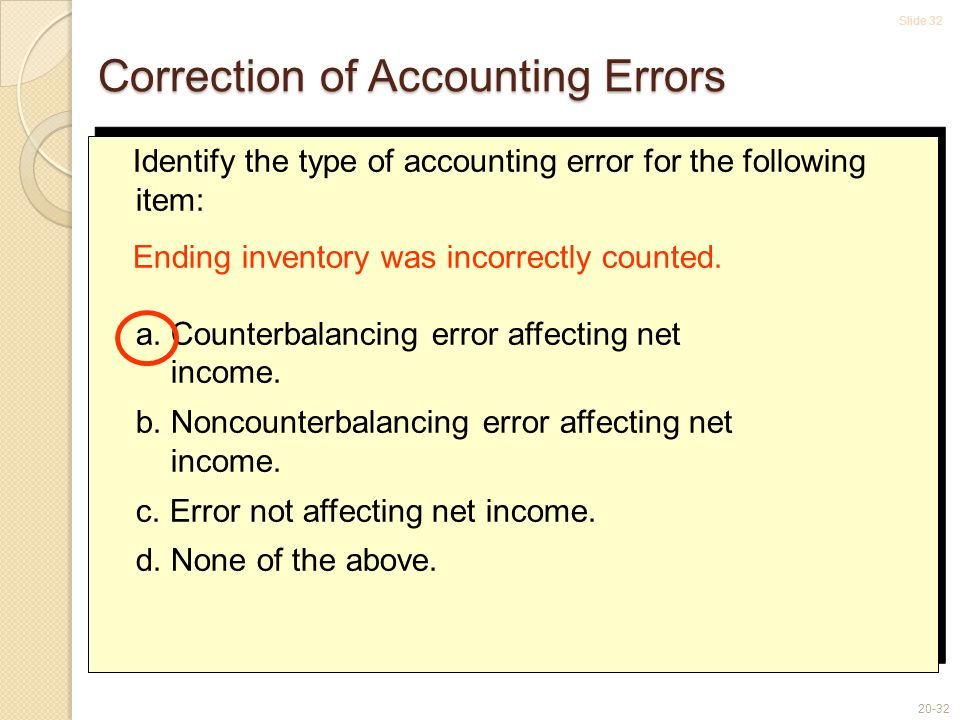 Slide 32 20-32 Correction of Accounting Errors Identify the type of accounting error for the following item: Ending inventory was incorrectly counted.