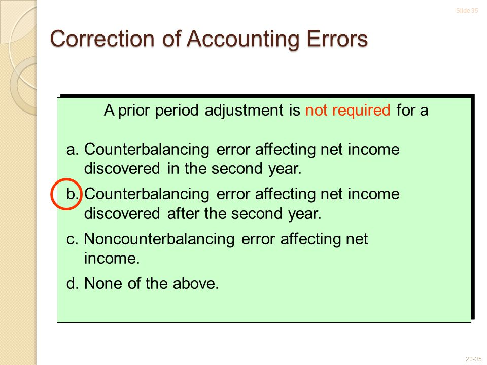Slide 35 20-35 A prior period adjustment is not required for a a.