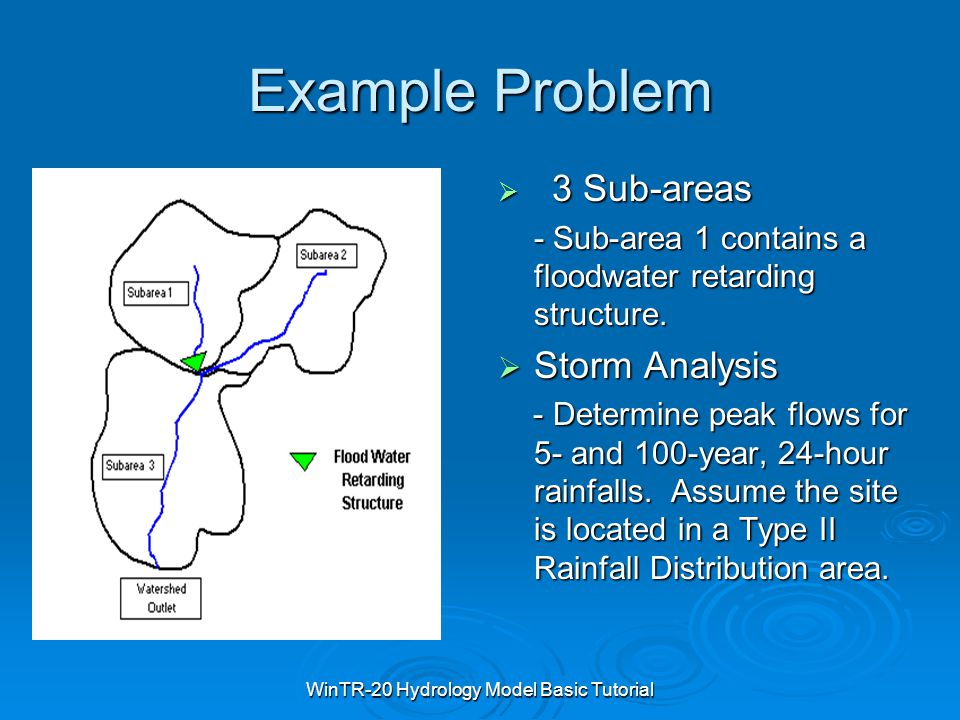 WinTR-20 Hydrology Model Basic Tutorial Example Problem  3 Sub-areas - Sub-area 1 contains a floodwater retarding structure.  Storm Analysis - Deter