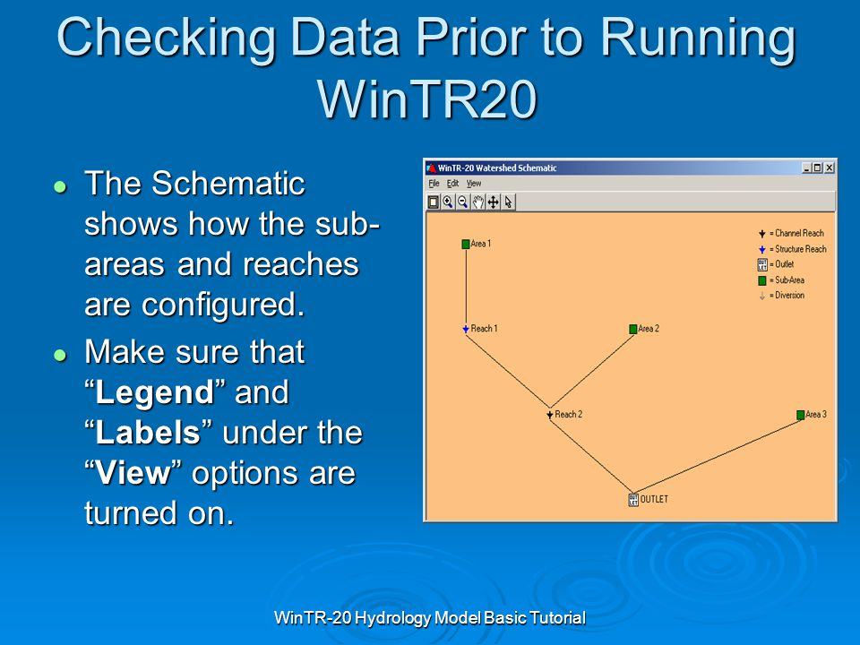 WinTR-20 Hydrology Model Basic Tutorial Checking Data Prior to Running WinTR20 ● The Schematic shows how the sub- areas and reaches are configured. ●
