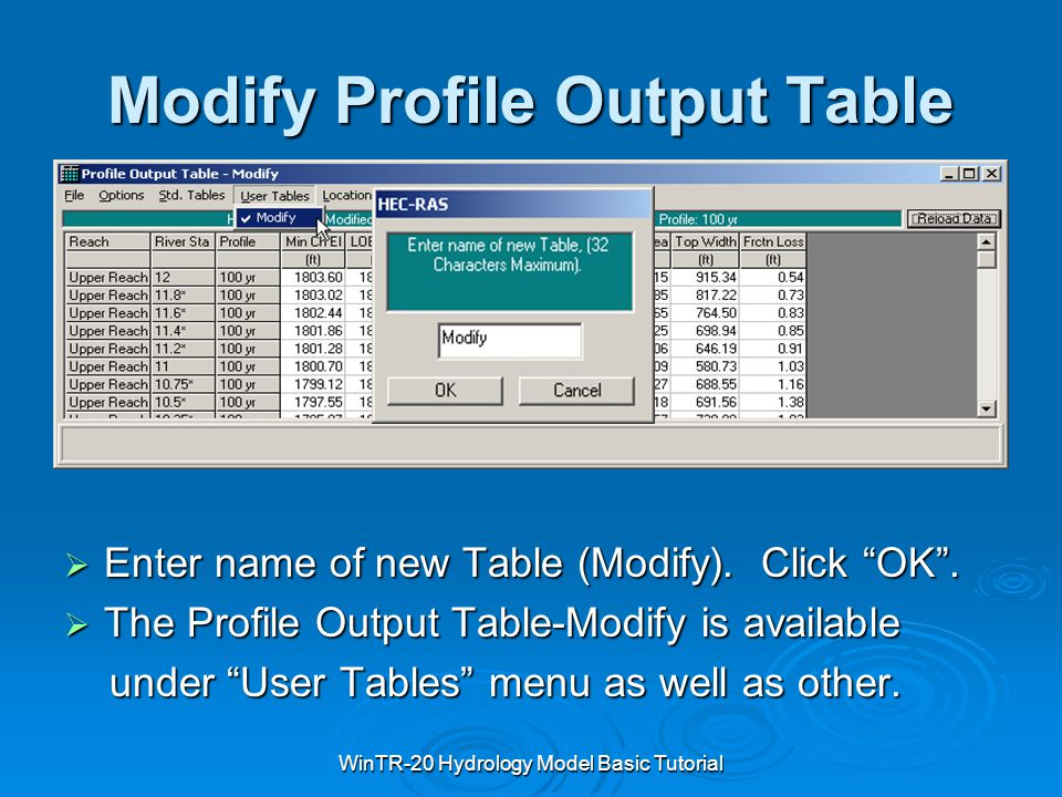 "WinTR-20 Hydrology Model Basic Tutorial Modify Profile Output Table  Enter name of new Table (Modify). Click ""OK"".  The Profile Output Table-Modify"