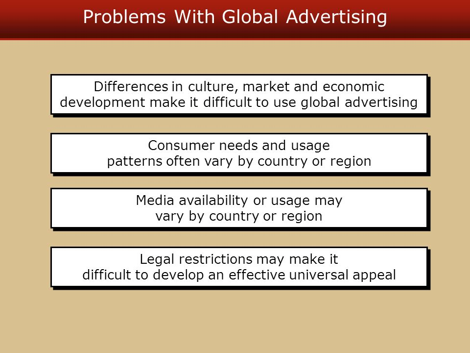 Problems With Global Advertising Legal restrictions may make it difficult to develop an effective universal appeal Media availability or usage may vary by country or region Consumer needs and usage patterns often vary by country or region Differences in culture, market and economic development make it difficult to use global advertising