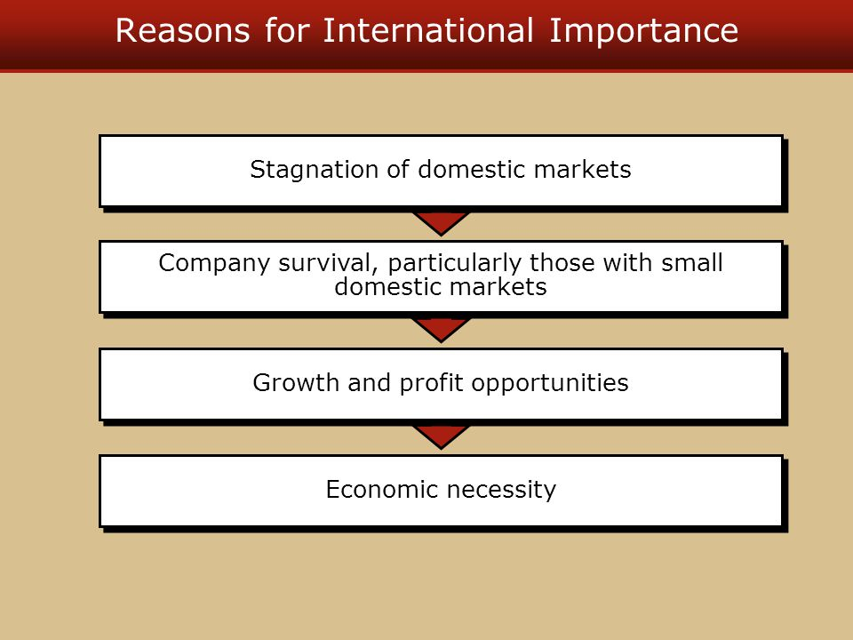 Reasons for International Importance Economic necessity Growth and profit opportunities Company survival, particularly those with small domestic markets Stagnation of domestic markets