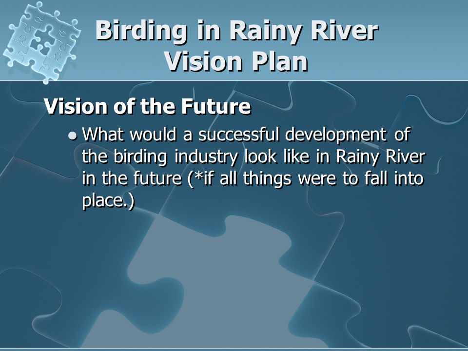 Birding in Rainy River Vision Plan Observation One of the resources that we have in our area is birding .