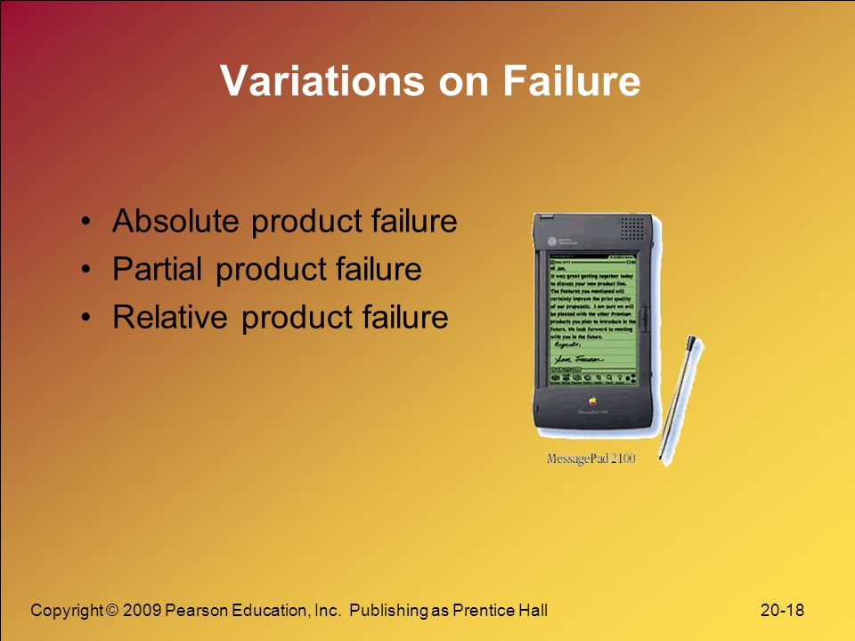 Copyright © 2009 Pearson Education, Inc. Publishing as Prentice Hall 20-18 Variations on Failure Absolute product failure Partial product failure Rela