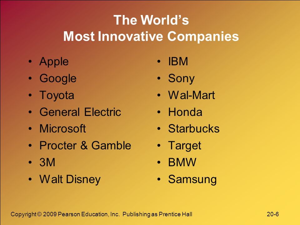 Copyright © 2009 Pearson Education, Inc. Publishing as Prentice Hall 20-6 The World's Most Innovative Companies Apple Google Toyota General Electric M