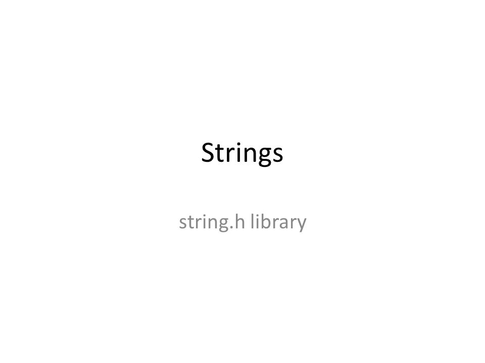 String Library Functions Dr.
