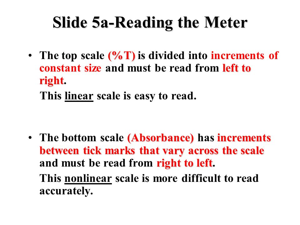 Slide 5a-Reading the Meter (%T) left to rightThe top scale (%T) is divided into increments of constant size and must be read from left to right. This