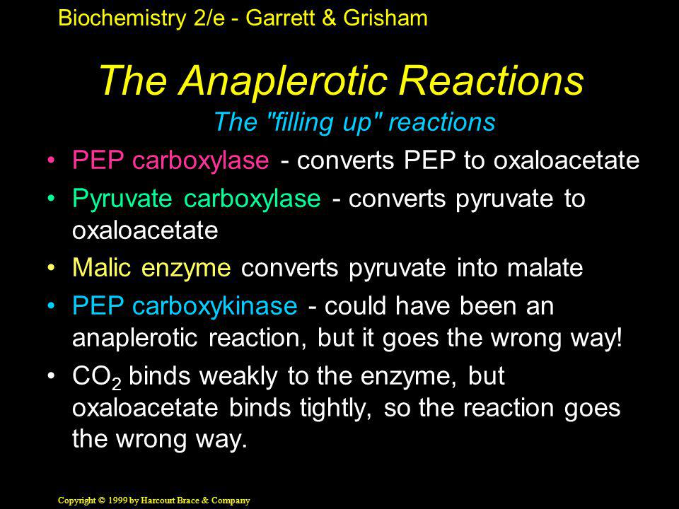Biochemistry 2/e - Garrett & Grisham Copyright © 1999 by Harcourt Brace & Company The Anaplerotic Reactions The