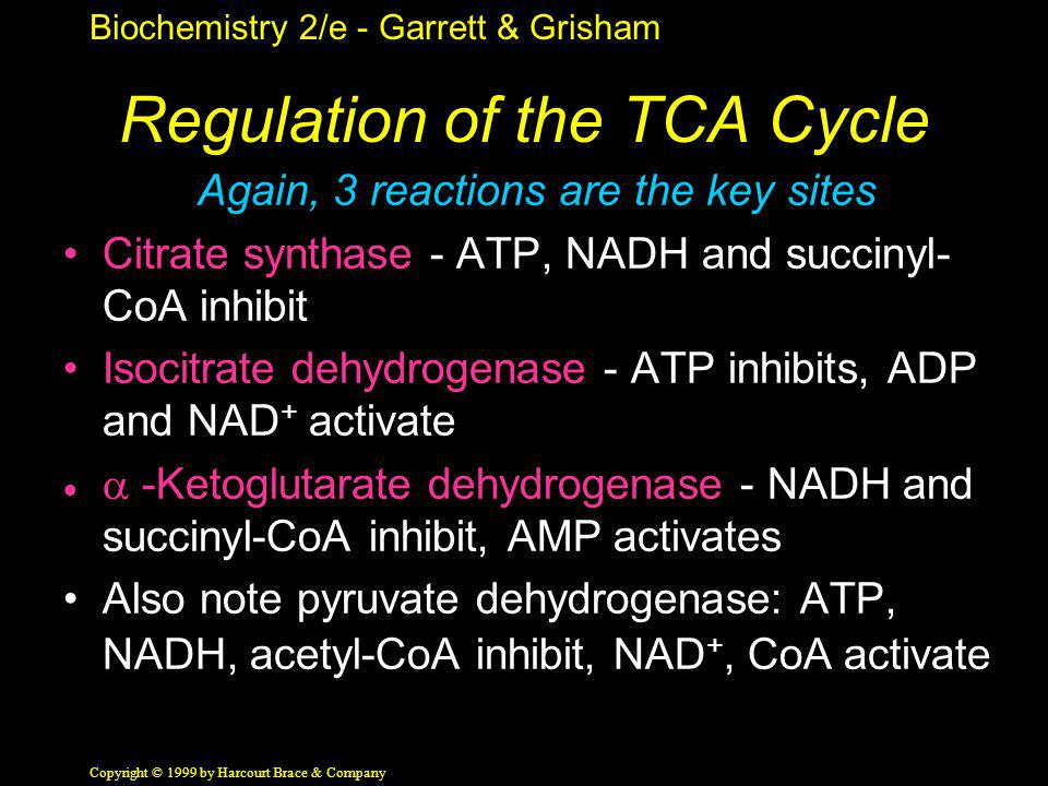 Biochemistry 2/e - Garrett & Grisham Copyright © 1999 by Harcourt Brace & Company Regulation of the TCA Cycle Again, 3 reactions are the key sites Cit