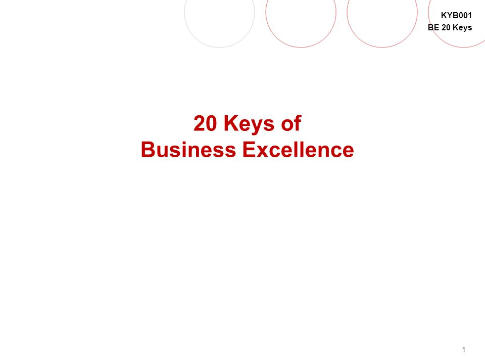 1 KYB001 BE 20 Keys QUICK SET-UP 20 Keys of Business Excellence