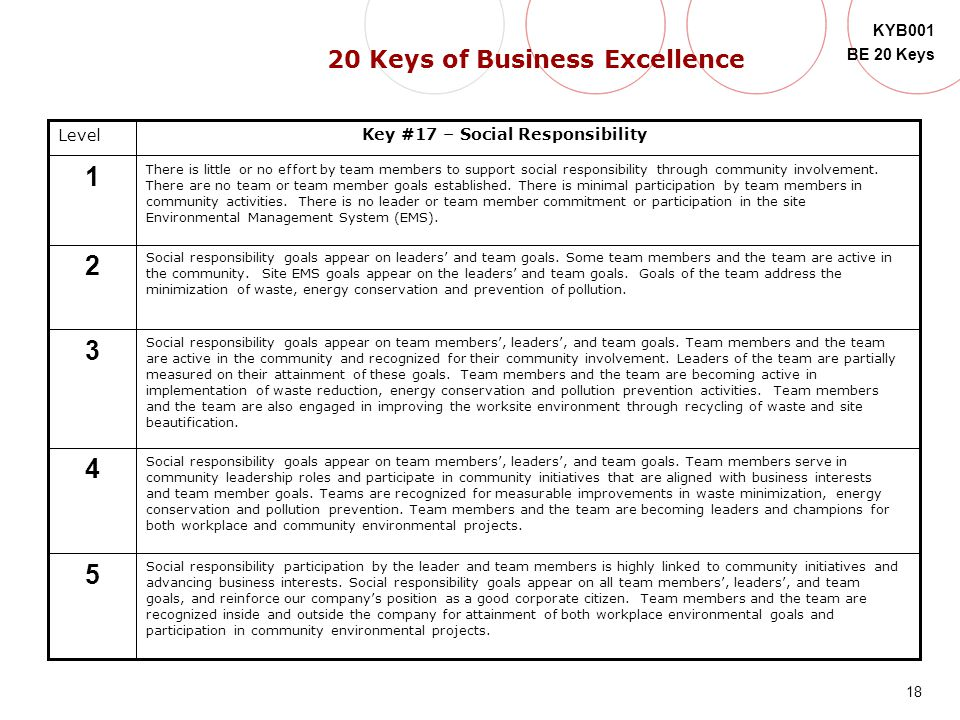 18 KYB001 BE 20 Keys 5 Level 4 3 2 1 Key #17 – Social Responsibility There is little or no effort by team members to support social responsibility thr