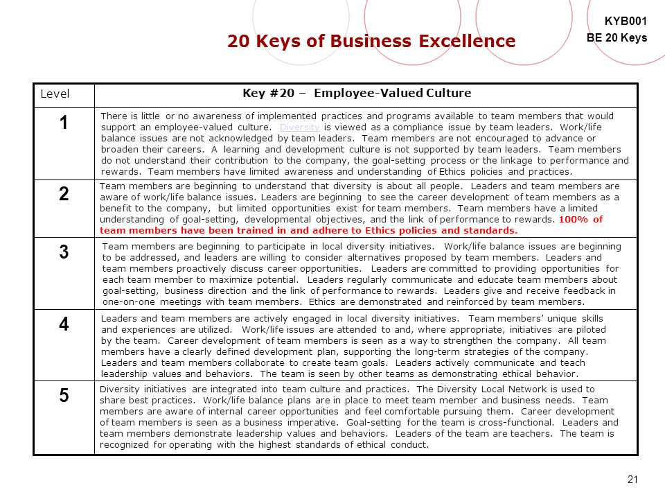 21 KYB001 BE 20 Keys Level 5 4 3 2 1 Key #20 – Employee-Valued Culture There is little or no awareness of implemented practices and programs available