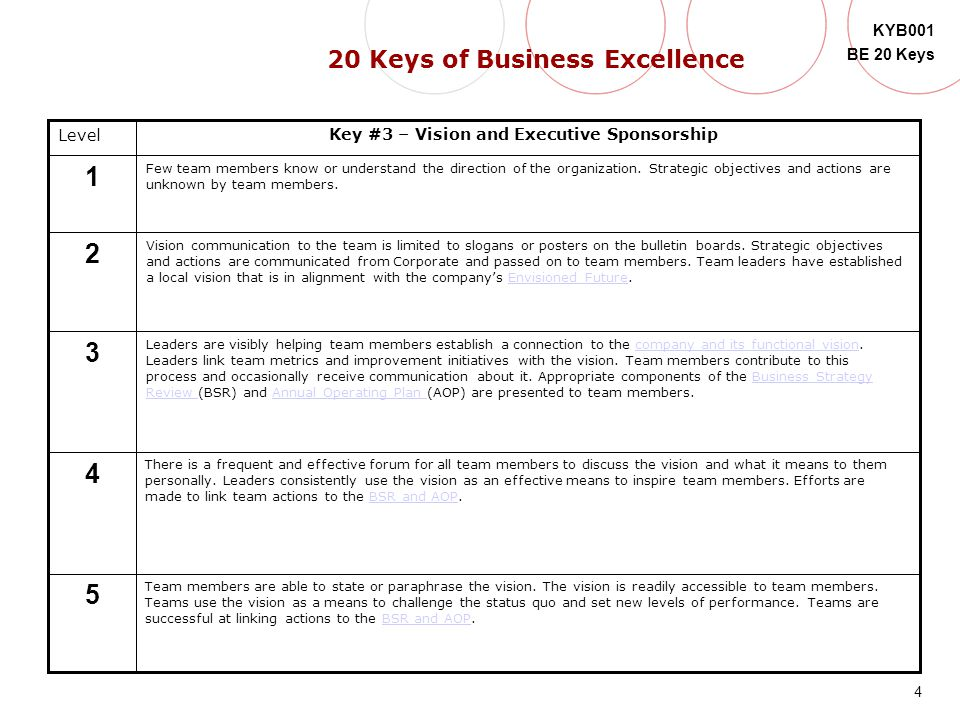 4 KYB001 BE 20 Keys Level 5 4 3 2 1 Key #3 – Vision and Executive Sponsorship Few team members know or understand the direction of the organization. S
