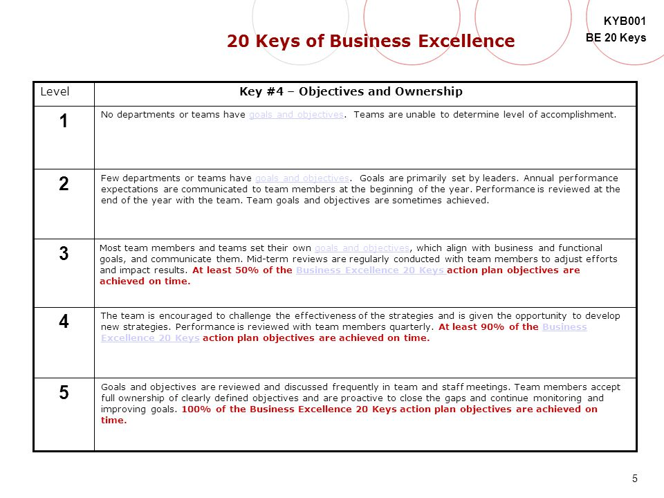 5 KYB001 BE 20 Keys Level 5 4 3 2 1 Key #4 – Objectives and Ownership No departments or teams have goals and objectives. Teams are unable to determine