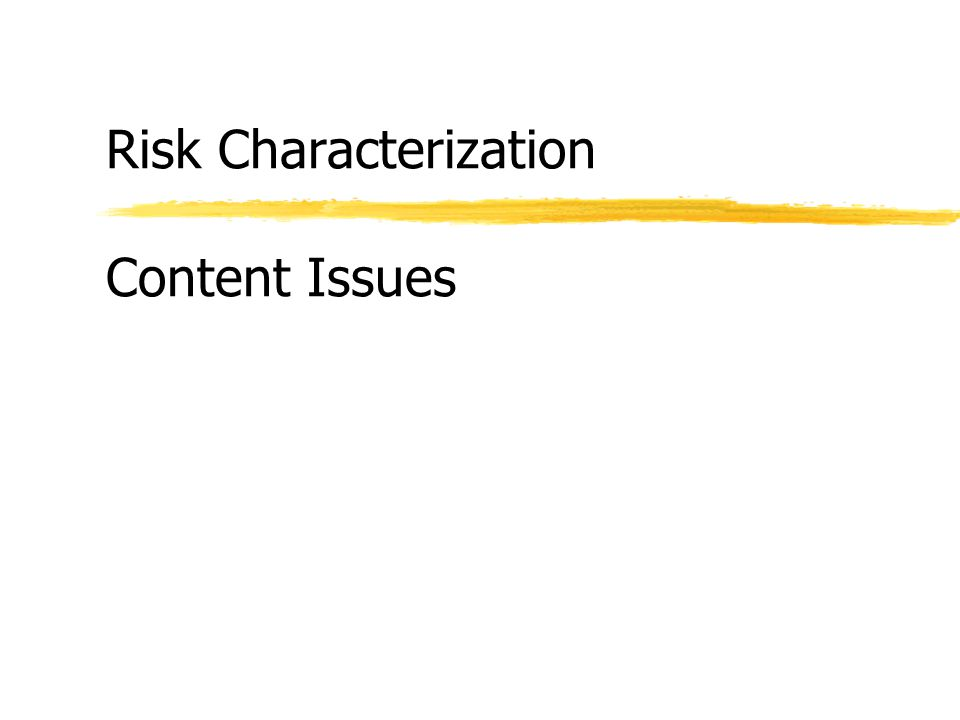 Risk Characterization Content Issues