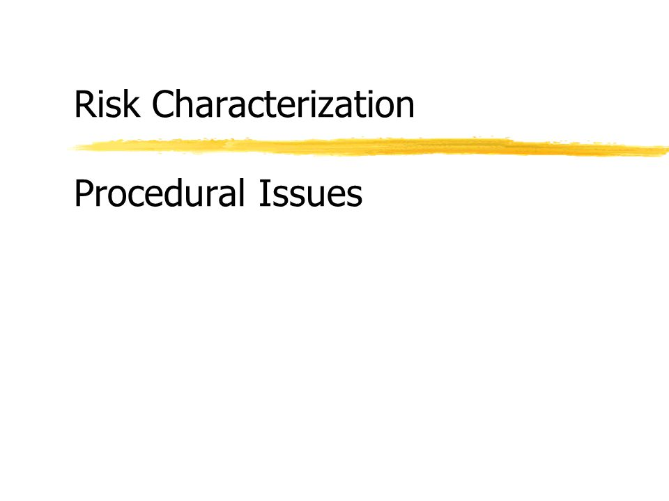 Risk Characterization Procedural Issues