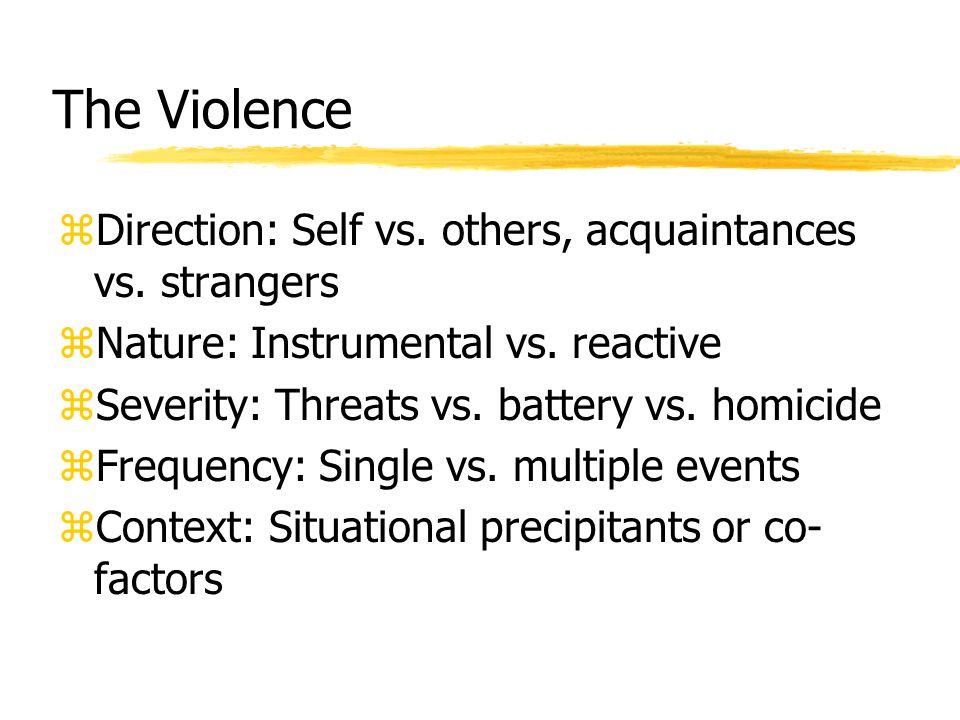 The Violence zDirection: Self vs. others, acquaintances vs.
