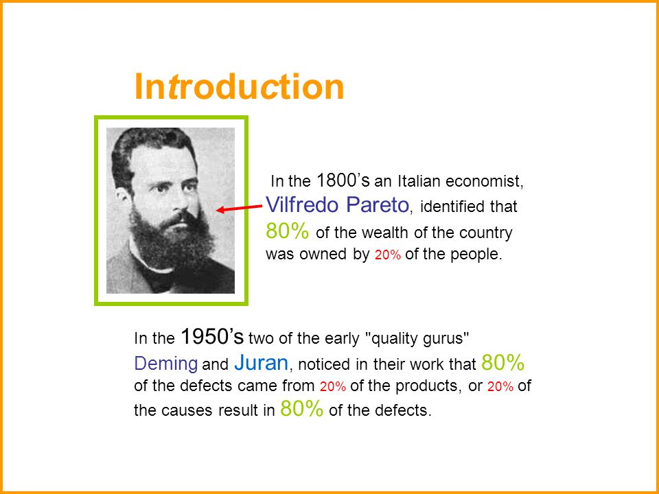 Introduction In the 1800's an Italian economist, Vilfredo Pareto, identified that 80% of the wealth of the country was owned by 20% of the people. In