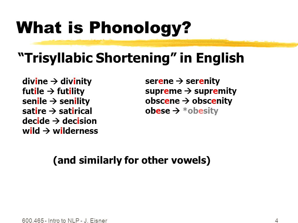 600.465 - Intro to NLP - J.Eisner5 What is Phonology.