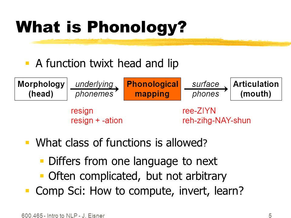 600.465 - Intro to NLP - J. Eisner5 What is Phonology?  A function twixt head and lip  What class of functions is allowed ?  Differs from one langu