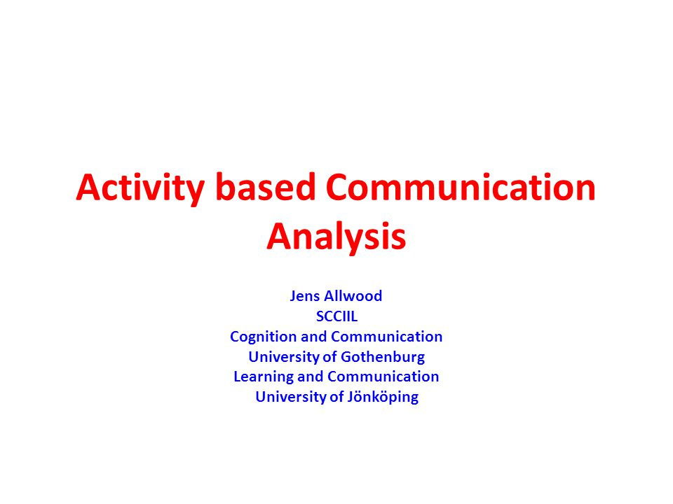 Activity perspectives Collective (all participants) – individual (single participants), Global (entire activity) – local (part of the activity), Influencing (purpose/function, roles, artifacts/instruments, social/physical environment) – influenced (features of communication)