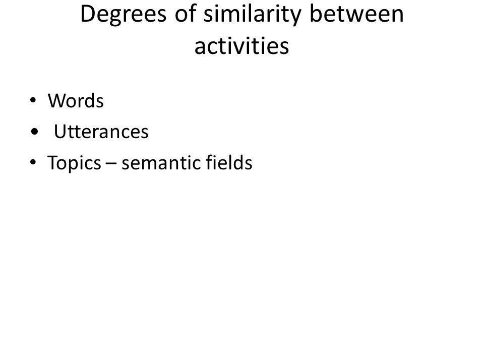Degrees of similarity between activities Words Utterances Topics – semantic fields