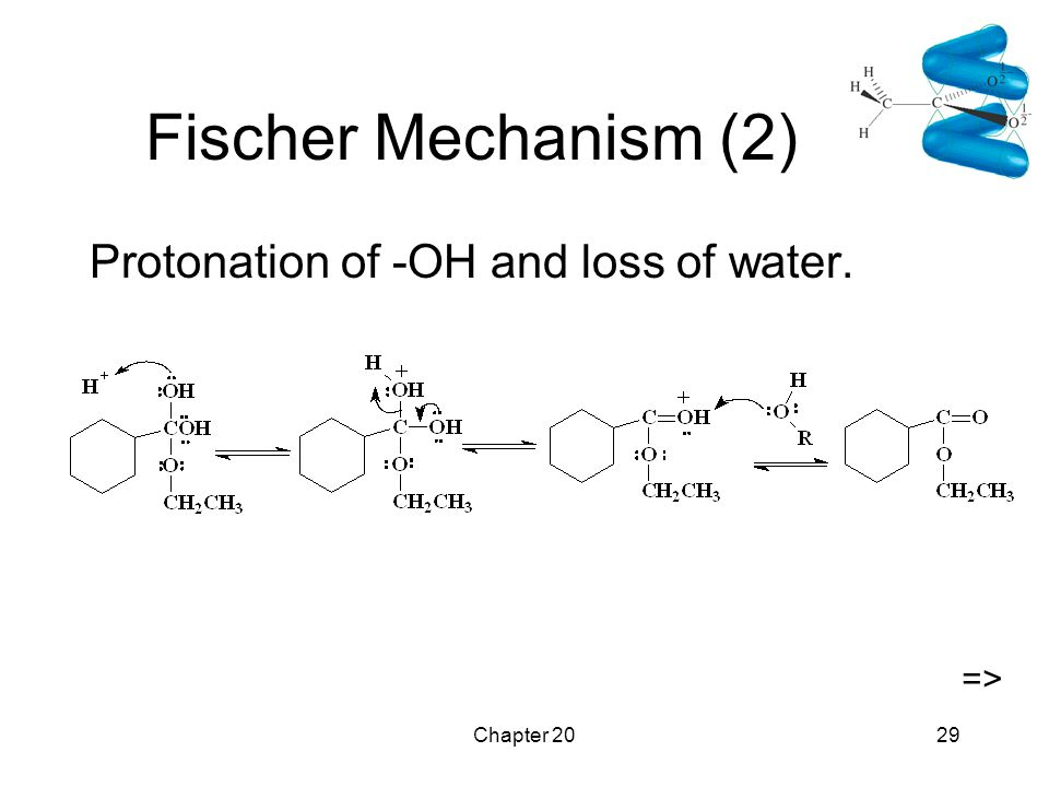 Chapter 2029 Fischer Mechanism (2) Protonation of -OH and loss of water. =>