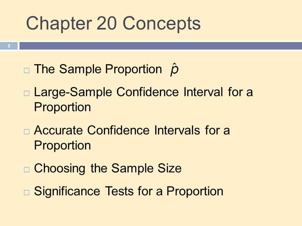 Chapter 20 Objectives 3  Describe the conditions necessary for inference  Check the conditions necessary for inference  Construct and interpret large-sample and accurate confidence intervals for a proportion  Calculate the sample size necessary for a level C confidence interval  Conduct a significance test for a proportion