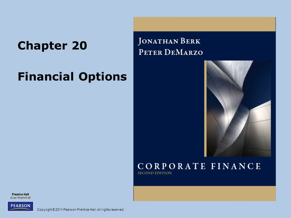 Copyright © 2011 Pearson Prentice Hall. All rights reserved. Chapter 20 Financial Options