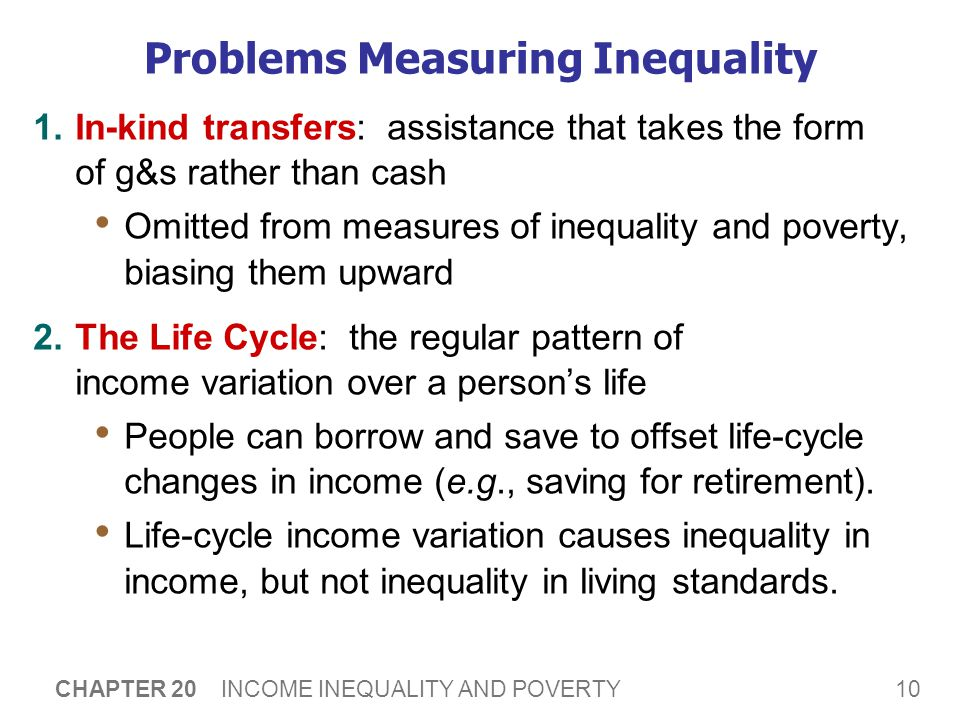 10 CHAPTER 20 INCOME INEQUALITY AND POVERTY Problems Measuring Inequality 1.In-kind transfers: assistance that takes the form of g&s rather than cash