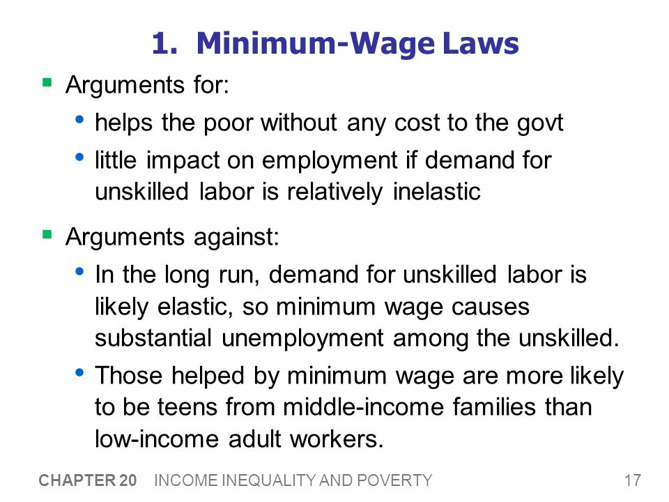17 CHAPTER 20 INCOME INEQUALITY AND POVERTY 1. Minimum-Wage Laws  Arguments for: helps the poor without any cost to the govt little impact on employm