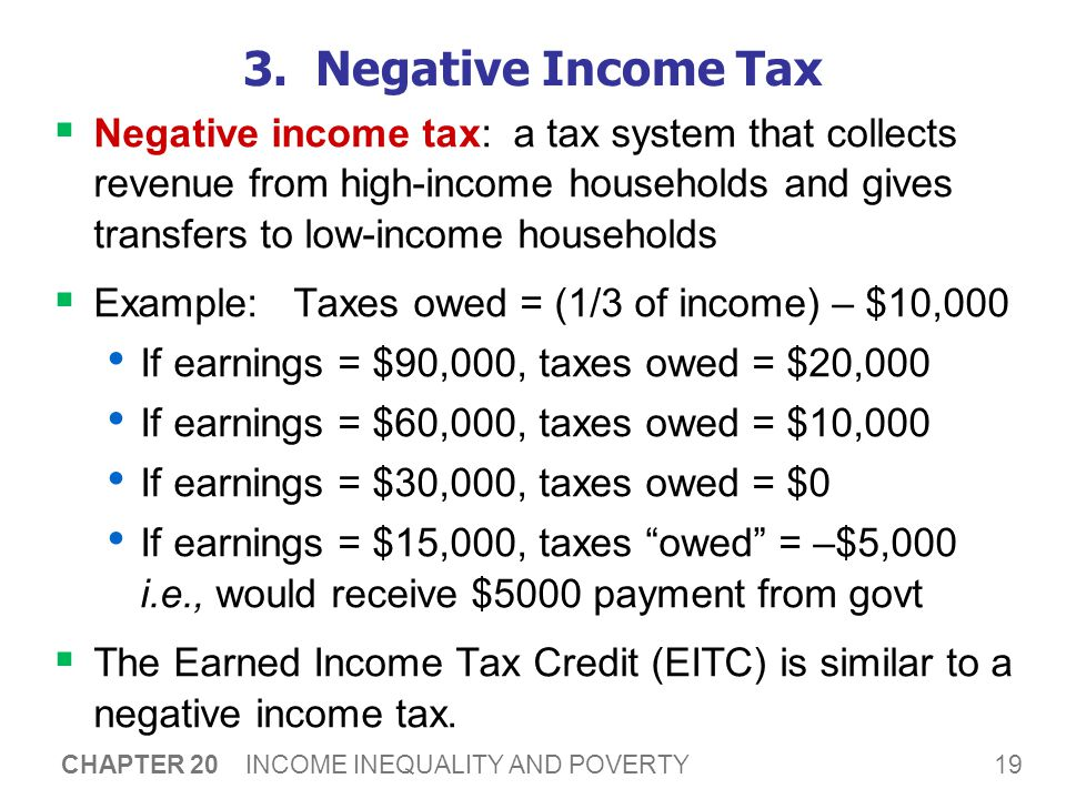 19 CHAPTER 20 INCOME INEQUALITY AND POVERTY 3. Negative Income Tax  Negative income tax: a tax system that collects revenue from high-income househol