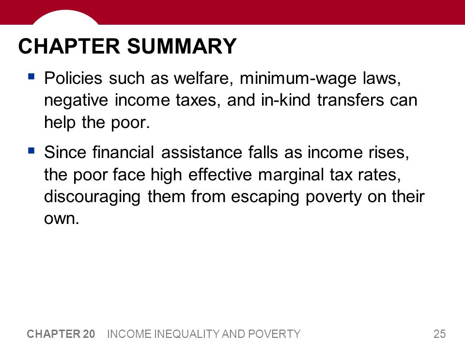 25 CHAPTER 20 INCOME INEQUALITY AND POVERTY CHAPTER SUMMARY  Policies such as welfare, minimum-wage laws, negative income taxes, and in-kind transfer