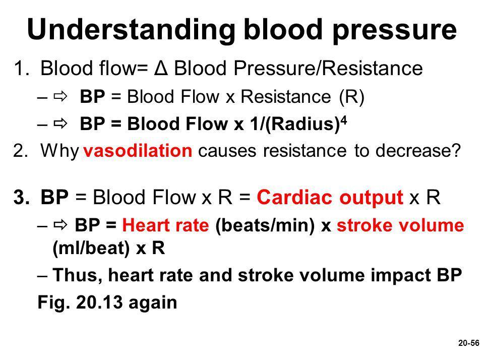 Understanding blood pressure 1.Blood flow= Δ Blood Pressure/Resistance –  BP = Blood Flow x Resistance (R) –  BP = Blood Flow x 1/(Radius) 4 2.Why v