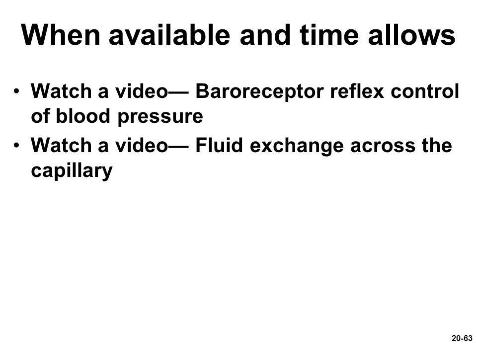 When available and time allows Watch a video— Baroreceptor reflex control of blood pressure Watch a video— Fluid exchange across the capillary 20-63