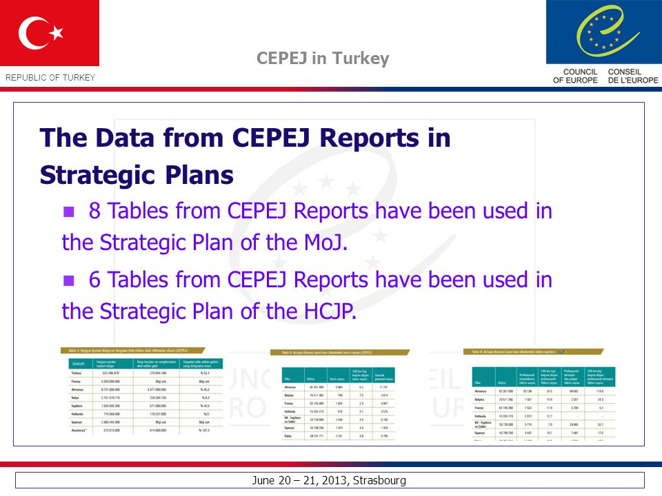 June 20 – 21, 2013, Strasbourg CEPEJ in Turkey REPUBLIC OF TURKEY The Data from CEPEJ Reports in Strategic Plans 8 Tables from CEPEJ Reports have been