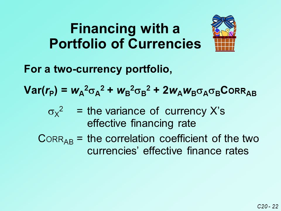 C20 - 22 Var(r P ) = w A 2  A 2 + w B 2  B 2 + 2w A w B  A  B C ORR AB  X 2 =the variance of currency X's effective financing rate C ORR AB =the correlation coefficient of the two currencies' effective finance rates Financing with a Portfolio of Currencies For a two-currency portfolio,
