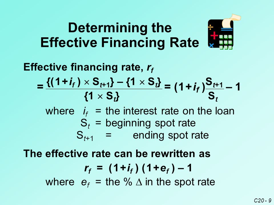 C20 - 9 Effective financing rate, r f = {( 1 + i f )  S t+1 } – {1  S t } = ( 1 + i f ) S t+1 – 1 {1  S t } S t wherei f =the interest rate on the loan S t =beginning spot rate S t+1 =ending spot rate Determining the Effective Financing Rate The effective rate can be rewritten as r f = ( 1 + i f ) ( 1 + e f ) – 1 wheree f =the %  in the spot rate